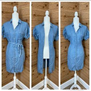 LOVE TREE 🚛 Tie Light Denim Dress Shirt SMALL